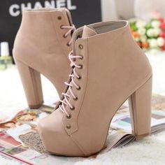 Womens High Heels Platforms Short Boots Winter Warm Shoes Crossed Shoelace 1mk