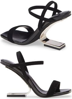 An architectural heel brings striking height to a strappy sandal designed with elasticized straps at the ankle. Embellished Sandals, Studded Sandals, Ankle Strap Sandals, Open Toe Booties, Lace Up Booties, Leather Ankle Boots, Leather Sandals, Balmain Boots, Hiking Fashion