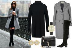 Szary płaszcz i czarna sukienka z golfem / fot. voguehaus.com, autor: Barbora Ondrackova / kolaż: mat. partnera