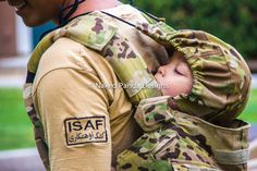 "The ""manly"" baby carrier that my hubby wants. I love that it will be made from his ACU top:) Military Multicam Uniform Baby/Toddler by NakedPandaDesigns, $130.00"