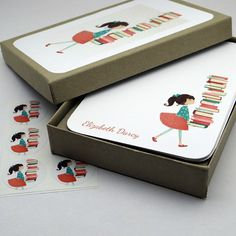 personalized stationery set- Library Girl Personalized Stationery Set - gift set flat card notecard librarian reading book - super cute!