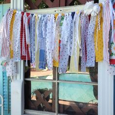 Feed Sack Curtain Valance Garland Red Blue Gold by ChangesByNeci, $42.00
