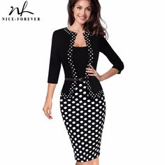 Buy  Nice-forever One-piece Faux Jacket Retro Contrast Polka Wear to Work Business vestidos Office Bodycon Women Sheath Dress B407 .....Please Click Link To Check Price