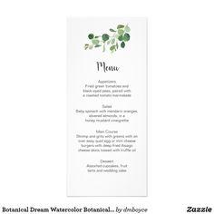Botanical Dream Watercolor Botanicals Menu Cards