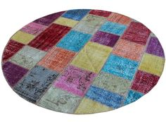 Rond Multicolour patchwork tapijt