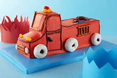 Fire up the candles and let's celebrate! This Fire Truck Birthday Cake is simple to make using a few store-bought ingredients. Your little firefighter will love this cut-up cake recipe.