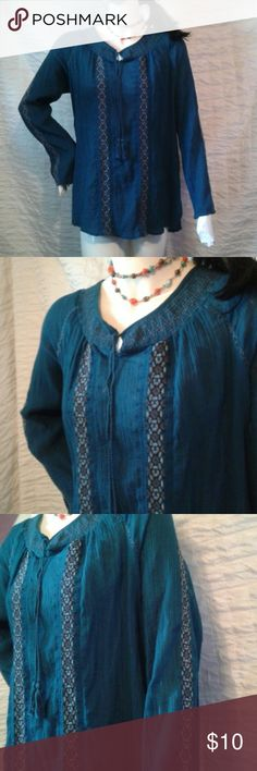 Boho embroidered XL long sleeve top Lightweight deep blue turquoise top with beautiful ebroidered design. Nine West Vintage America Jeans Tops Blouses
