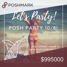 1 HOUR UNTIL POSH PARTY TIME!!! Hey everyone! So excited to announce I will be hosting my second posh party on October 10/8 at 7PM PST!   Like, comment and share on this post to have your closet reviewed for host picks! I love seeing what everyone has in their closets and am always on the hunt for host picks! See you all tonight!!!!!  THEME ANNOUNCED: WEEKEND WEAR PARTY! Free People Tops Tank Tops