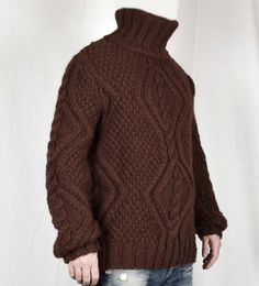 Hand Knitted 100% WOOL Pullover Men Sweater Turtleneck SOFT | Etsy Gros Pull Long, Jumper, Men Sweater, Wool Yarn, Hand Knitting, Turtle Neck, Pullover, Sleeves, Model