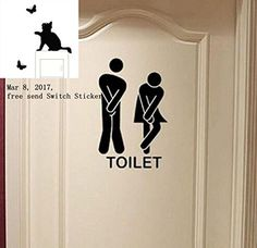 Removable Cute Man Woman Washroom Toilet WC Wall Sticker Family DIY Decor Art Stickers Home Decor Wall Art For Kids Living Room Bedroom Bathroom Office Home Decoration  Feature:   100% brand new and high quality.   Quantity:1PC   Non-toxic, environmental protection, waterproof   Size:About 13*18cm(W*H)   Material:PVC   Can be applied to any smooth surface, such as glass door, window pane, ceramic tiles in kitchen or bathroom, glasses, home appliance, air-condition, and car body   How..
