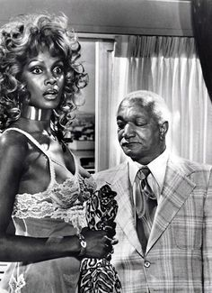 Redd Foxx and Tamara Dobson 18 Old Photos of Men Staring at Women in the Past Black Actresses, Black Actors, Black Celebrities, Actors & Actresses, Celebs, 30th Birthday Ideas For Women, Redd Foxx, Sanford And Son, 1980s Pop Culture