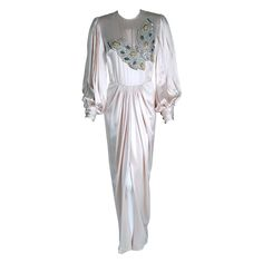 1970's Galanos Ivory-White Satin Beaded Butterfly Billow-Sleeves Draped Gown | From a collection of rare vintage evening dresses at https://www.1stdibs.com/fashion/clothing/evening-dresses/