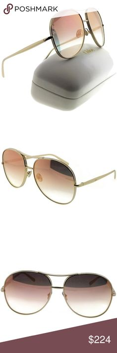 049289a0ad2fbb CH127S-NOLA-778-61 CHLOE SUNGLASSES New gorgeous authentic Chloe  CH127S-NOLA-778-61 pilot women s gold frame red lens 61mm genuine sunglasses  with stylish ...