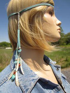 Leather hair wrap as hairband