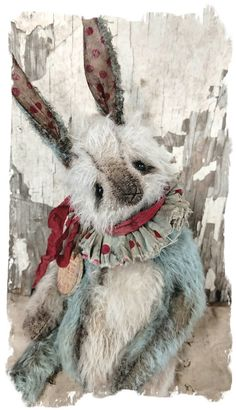 """Image of Old & Worn Vintage Carnival: Big 13"""" Mohair RABBIT w/ vintage poker chip charm* By Whendi's Bears"""