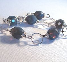 Gray Bracelet Sterling Link Bracelet Czech Glass by RelaxedGrace