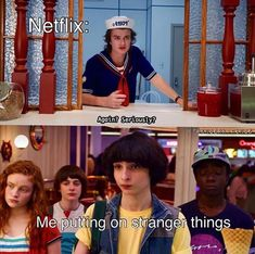 i'm watching stranger things edits and eating ice cream. how's your day going? Stranger Things Characters, Watch Stranger Things, Stranger Things Have Happened, Stranger Things Aesthetic, Stranger Things Netflix, Saints Memes, Stranger Danger, Funny Relatable Memes, Tv Shows