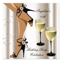 Sepia Black Shoes Wine Glass Birthday Party
