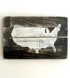 USA Map Wood Art | Express a rustic sort of patriotism with this hand-distressed ... | Artwork