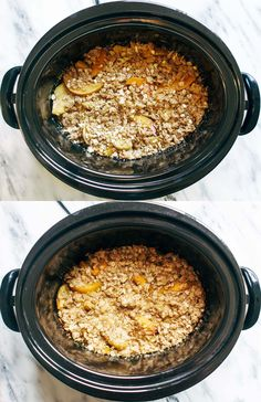 Alton Brown  -  Why it's great for the slow cooker peach cobbler:This is a really easy recipe that yields delicious results! The peaches get a little caramelization from the crockpot (!!), and the topping is perfect. Talk about great for when you have guests for dinner–you can do it all ahead of time, but then still serve a nice warm cobbler when dinnertime rolls around.