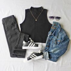 """Black outfit Fashion combo flatlay. Black Crop top, Adidas, denim jacket. Nifty Bits on Instagram: """"Can you tell I like black? 👅 Top: @hm 