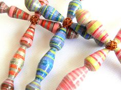 Paper Bead Cross Ornament Set of 3 1251 by BeadAmigas on Etsy