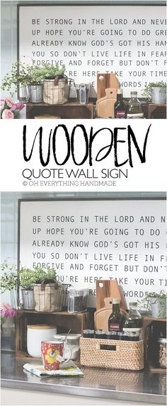 Wood Wall art Quote I found some spare time and started my favorite DIY project of all times. The Wooden Quote Wall Sign has been on my to-do list for months, but because I wanted to perfect the look and process it took a bit longer to complete. Wooden Wall Art, Wooden Diy, Wooden Signs, Wood Wall, Wooden Crafts, Diy Signs, Wall Signs, Diy Furniture Projects, Diy Projects