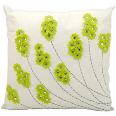 Mina Victory 20 x 20 in. Studded Floral Outdoor Throw Pillow - Adorable fabric flowers are dotted with sparkling faux crystals to make this Mina Victory 20 x 20 in. Studded Floral Outdoor Throw Pillow a shimmering. Green Throw Pillows, Modern Throw Pillows, Outdoor Throw Pillows, Decorative Throw Pillows, Accent Pillows, Sewing Pillows, Diy Pillows, Cushions, Toss Pillows