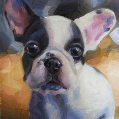 "Daily Paintworks - ""French bulldog"" - Original Fine Art for Sale - © Maria Z."