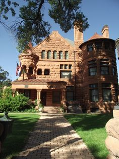 The Adams mansion looking toward the front door. It is a complete city estate that has a wonderful cariage house. Built in about 1889 and located in Pueblo.