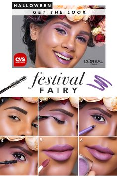 Enchant yourself this Halloween with the magical, Festival Fairy Look • Get the look with Infallible Pro-Glow foundation, Infallible Super Slim Liquid Eyeliner, Infallible Pro-Last liner in Purple, L'Oréal Paris Infallible 24HR Shadow in Glistening Garnet, Infallible Pro-Matte Long Wear Liquid Lipstick in 362 Plum Bum & Voluminous Lash Paradise Mascara.