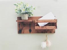 Wood Mail Organizer, Wall Hanging Key Holder, Wooden Mail and Key Holder, Rustic Farmhouse Decor, Mail Sorter Handmade Home Decor, Diy Home Decor, Room Decor, Mail And Key Holder, Mail Holder, Rustic Farmhouse Decor, Country Decor, Wooden Key Holder, White Home Decor