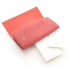 * CELINE Leather Continental Wallet Red