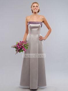 A-Line Strapless Straight Neckline Floor Length Satin Bridesmaid Dress BD10067