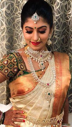 South Indian Bridal Saree Blouse Jewellery Designs 23 New Ideas South Indian Bridal Jewellery, Indian Bridal Sarees, Indian Bridal Makeup, Bridal Makeup Looks, Wedding Makeup, Bridal Lehenga, South Indian Makeup, Wedding Jewelry, Silk Saree Blouse Designs
