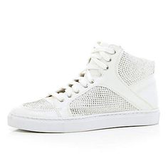 White heatseal panel high tops £45.00