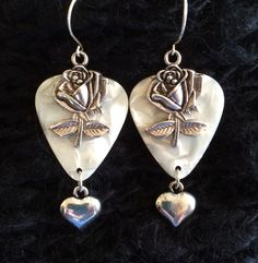 White Rose Guitar Pick earrings with silver hearts $21