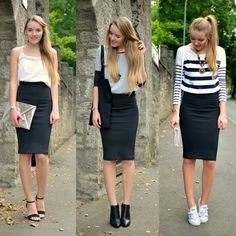 black pencil skirt casual outfit - Google Search