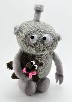"Robot sock animal. (tiny bear 3"" in his arm) https://www.etsy.com/shop/sockart http://rhythmsofgrace.ca/thelab/"