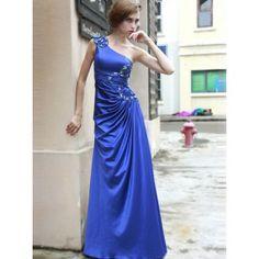 Exquisite One Shoulder Abendkleider Blau A-Linie Satin lang