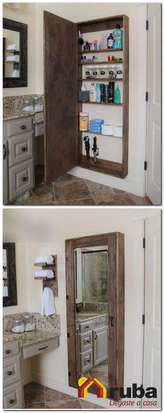 Si tu baño es pequeño y los productos que utilizas son muchos, está es una excelente idea para ti #HabitaciónRuba Te recomendamos http://inspirahogar.com/decoracion/banos/decoracion-para-banos-modernos-pequenos/ si quieres más ideas para decorar baños pequeños.