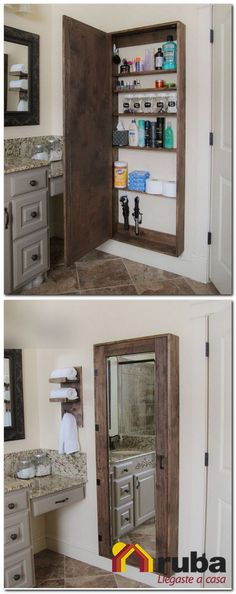 DIY Bathroom mirror storage case that holds everything. - 17 Repurposed DIY Bathroom Storage Solutions-- --not for just the bathroom. Bathroom Mirror Storage, Bathroom Storage Solutions, Bathroom Cabinets, Pallet Bathroom, Kitchen Storage, Master Bathroom, Basement Bathroom, Kitchen Cabinets, Bathroom Crafts