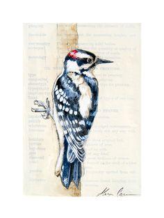 Downy Woodpecker Original Painting by Alexa Carson (WildPaintings) on Etsy. $75
