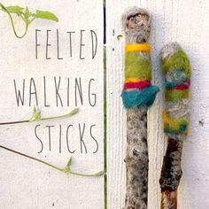 Felted Walking Sticks. Use wet felting to turn fallen branches into pretty walking sticks.