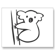 Possible Tattoo?   Image detail for -Young Koala in a Tree in Black and White Sketch Post Cards - Zazzle ...