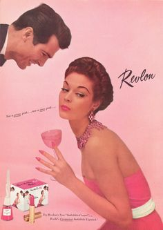 For all you ladies out there, here are a few scans of retro Revlon advertisements for lipstick and makeup. Revlon was started back in 1932 and are most Vintage Nail Art, Vintage Makeup Ads, Vintage Beauty, Vintage Fashion, Vintage Pink, 1960s Makeup, Vintage Soul, Vintage Glamour, 1950s Ads