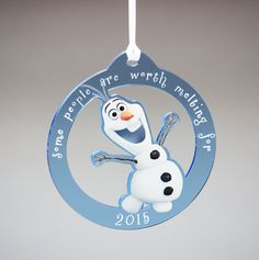 Adorable blue acrylic ornament from Disney's Makes for a great gift or party favor! Frozen Ornaments, Wooden Christmas Ornaments, Frozen Disney, Olaf Frozen, Fort Collins, Acrylic Colors, Party Favors, Snowman, Great Gifts