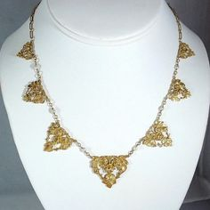 For a rare bijou! Napoleon III era French 18K solid gold necklace with natural