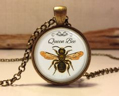 Queen Bee necklace. Queen Bee art pendant jewelry    This listing is for a handmade vintage style jewelry pendant. I make all of my glass