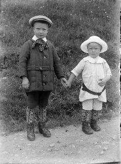 Portait of two Norwegian boys, ca. 1910.  Photographer: Paul Stang.